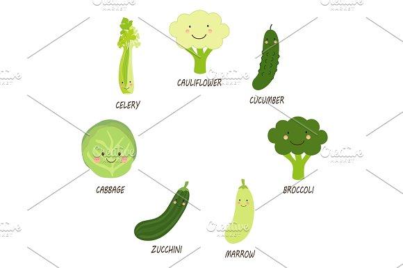 Cute Smiling Characters Of Green Veggies