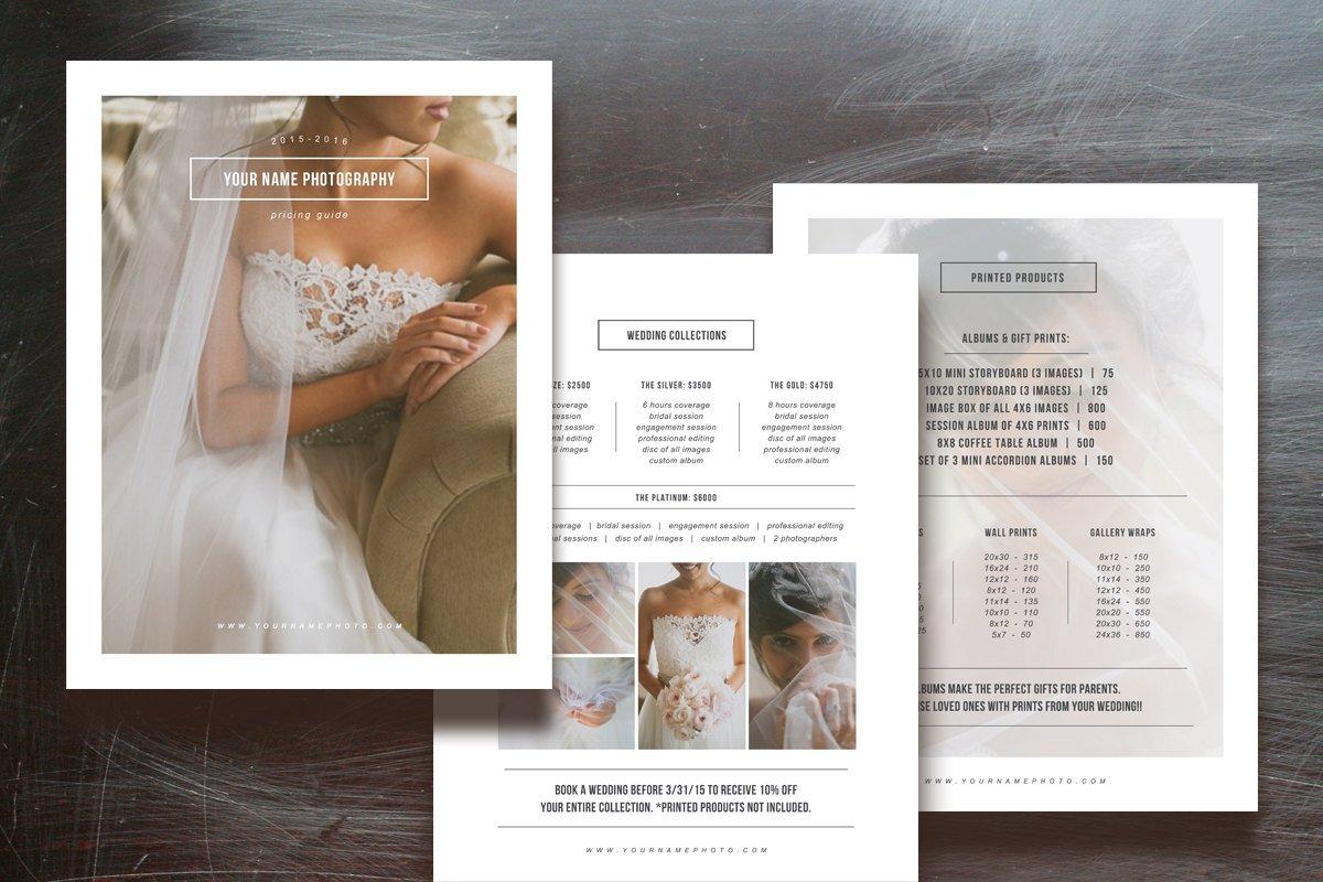 Photographer Pricing Guide Set Flyer Templates Creative Market