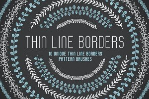 10 Thin Line Borders Pattern Brushes