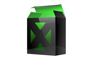 Black Green Realistic Package Box