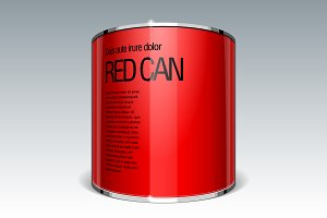 Shiny gloss red vector can