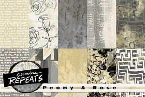 Seamless Patterns - Peony & Rose