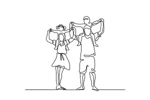Happy family with children on shoulders