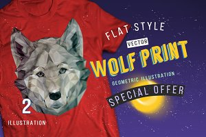 Wolf geometric print low poly design