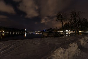Bled lake at night with Church