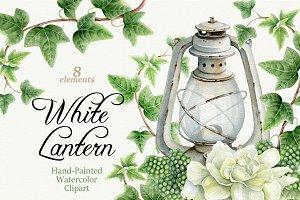White Lantern. Watercolor clipart