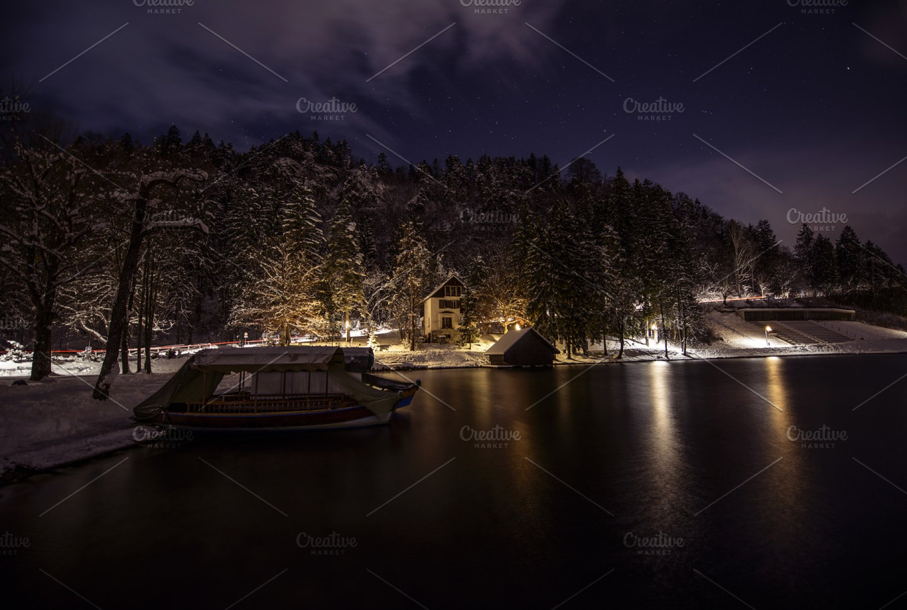 Boat At The Lake In Winter Night