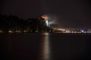 Bled Castle on winter night