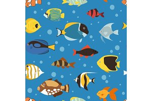 Exotic tropical fish underwater ocean or aquarium aquatic nature seamless pattern background vector