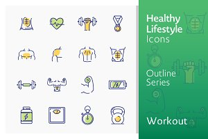 Healthy Lifestyle - Workout Icons