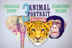 3 Animal portrait. Low poly style