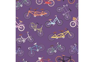 Collection of vector realistic bicycles vintage style old bike seamless pattern background transport illustration