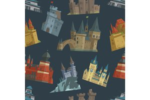 Cartoon fairy tale castle key-stone palace tower architecture building seamless pattern background vector