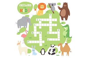 Kids magazine book puzzle game of forest animals logical crossword words worksheet colorful printable vector Illustration.