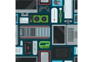 Electronic gadgets technology devices computer digital network seamless pattern background vector illustration