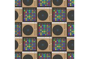 Creative modern musical instrument concept midi launchpad seamless pattern equipment vector illustration.