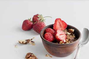 Granola with strawberry