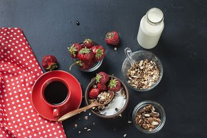 Healthy breakfast with granola