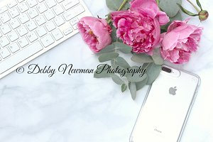 Pink Peonies, keyboard & phone 1