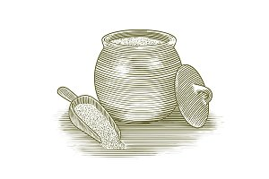 Woodcut Flour Canister