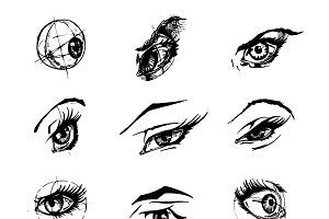 illustration of female eyes