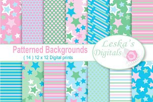 Pink, Blue and Green Backgrounds