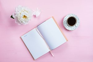 Breakfast with Notebook, Coffee and Good Mood