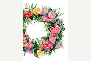 Watercolor flower floral wreath