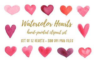 Watercolor Hearts Clipart PNG JPG