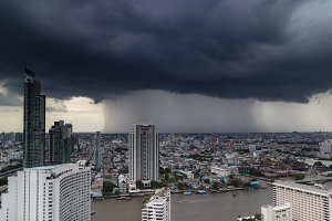 Rainstorm is falling in the city