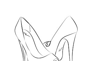 high heels, sketch style, vector