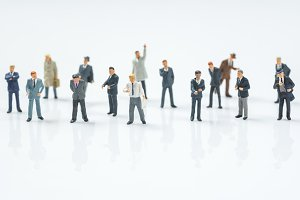 crowd of business miniature people