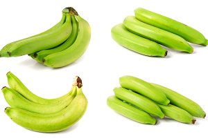 bunch of green bananas isolated on white background. Set or collection