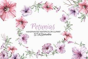 Watercolor Clipart Petunias