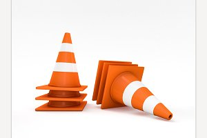 Orange road cones