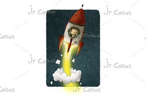 Businessman inside a rocket