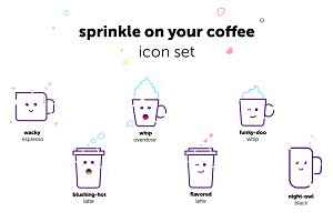 Sprinkle on your coffee - Icon Set