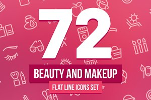 Beauty and Makeup Line Icons Set