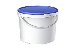 White plastic bucket with Blue lid