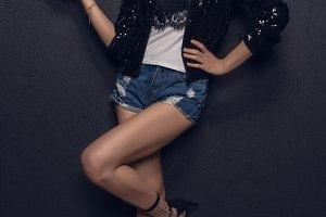 attractive asian disco girl posing