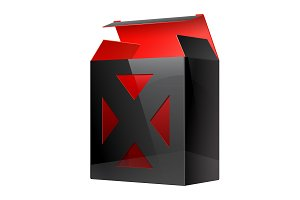 Black Red Realistic Package Box