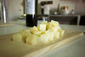 Pieces of cured cheese