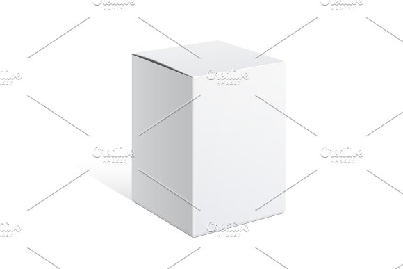 Realistic White Package Carton Box