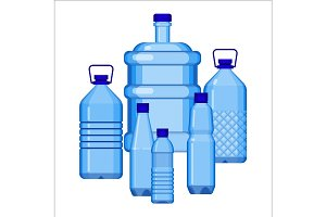 Water bottles set of various size on white