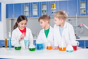 Kids in chemical laboratory