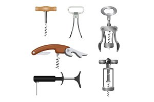 Set of bottle openers with wooden and metal handles