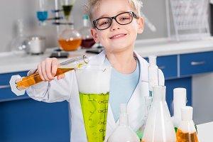 Boy making experiment