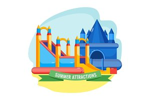 Summer park inflated attractions set colorful vector poster