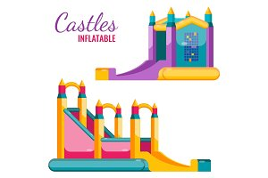 Two colorful castles inflatable isolated on white vector poster