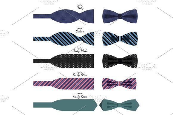 Bow Ties Set In Colors With Names On White